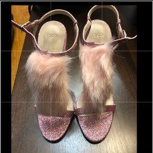 Asos Pink Glitter-Fur Heeled Sandals